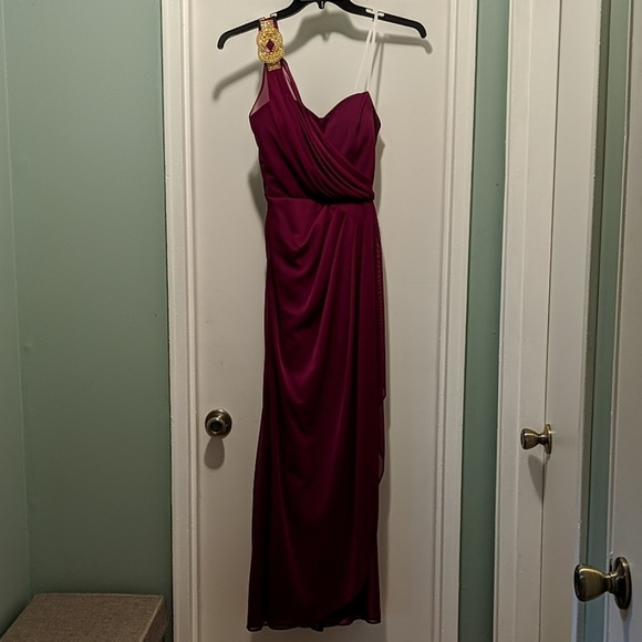 Xscape Dresses & Skirts - Berry Wine Red Dress, Cocktail dress, one shoulder